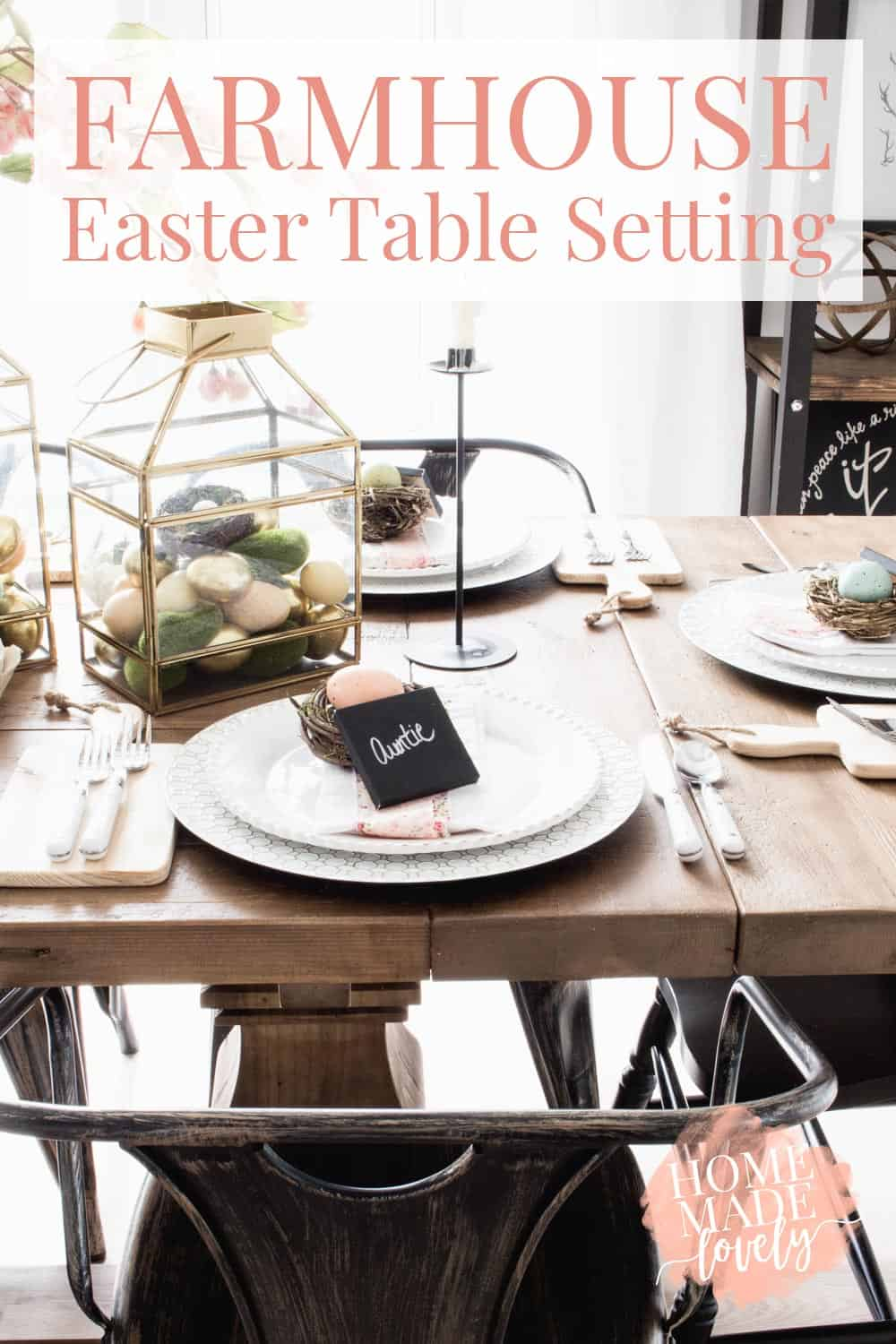 Farmhouse Easter Table Setting With Gold Lanterns Pink Flowers