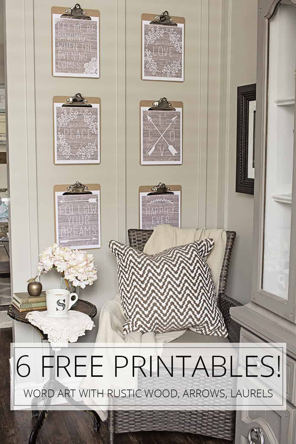 graphic about Printable Word Art titled 6 Cost-free Farmhouse Printable Artwork Parts Term Artwork with Rustic