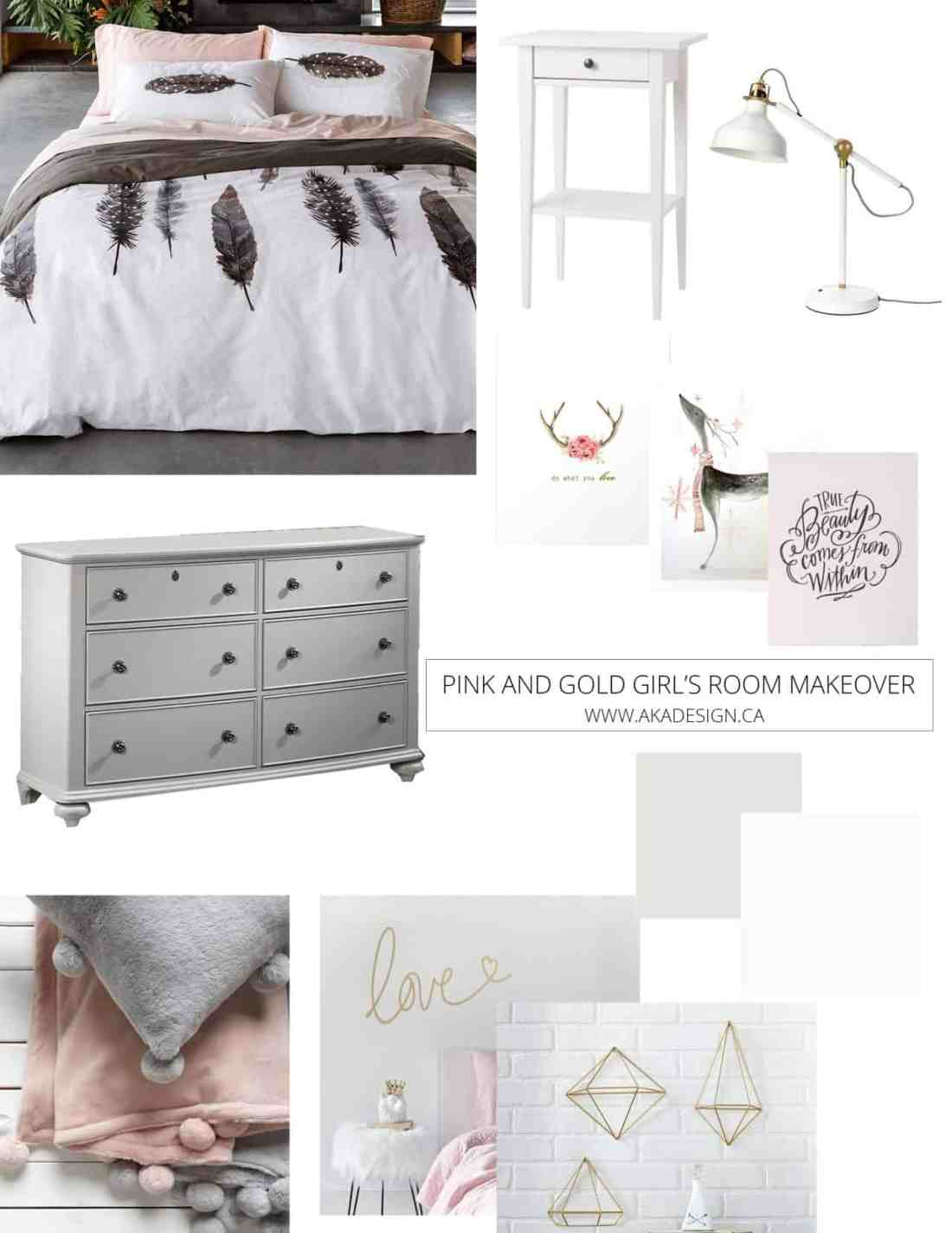 Pink and Gold Girl's Bedroom Makeover Inspiration