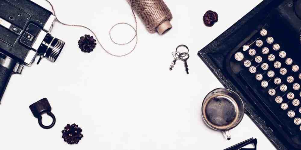 thrift store finds like old keys, glasses, typewriter