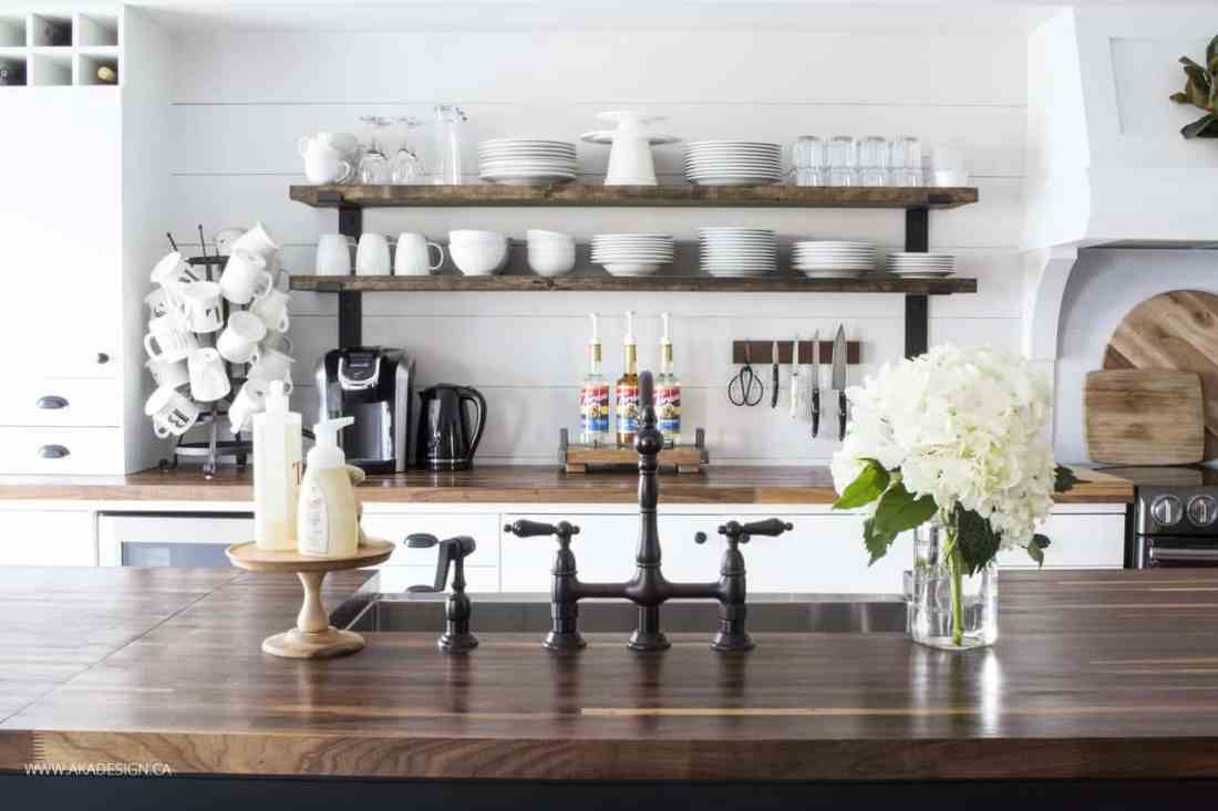 bridge faucet | open shelves | kitchen