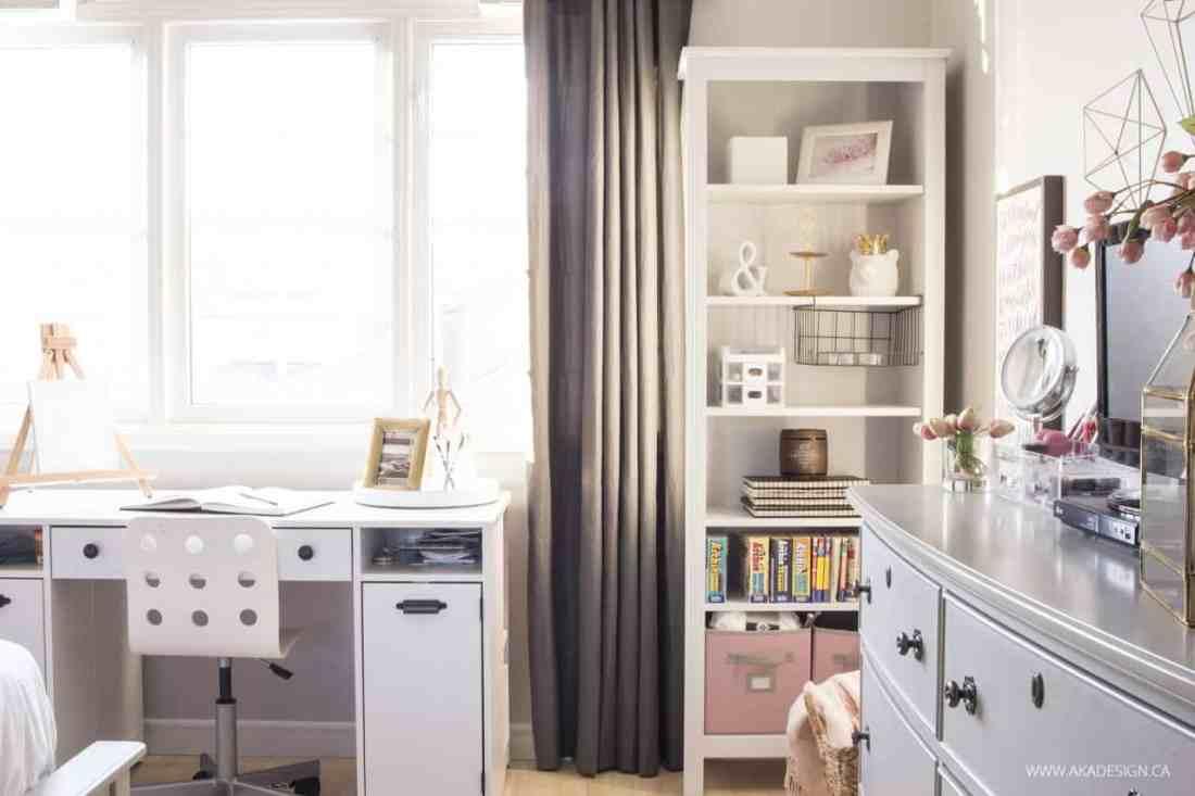 desk, shelves and window