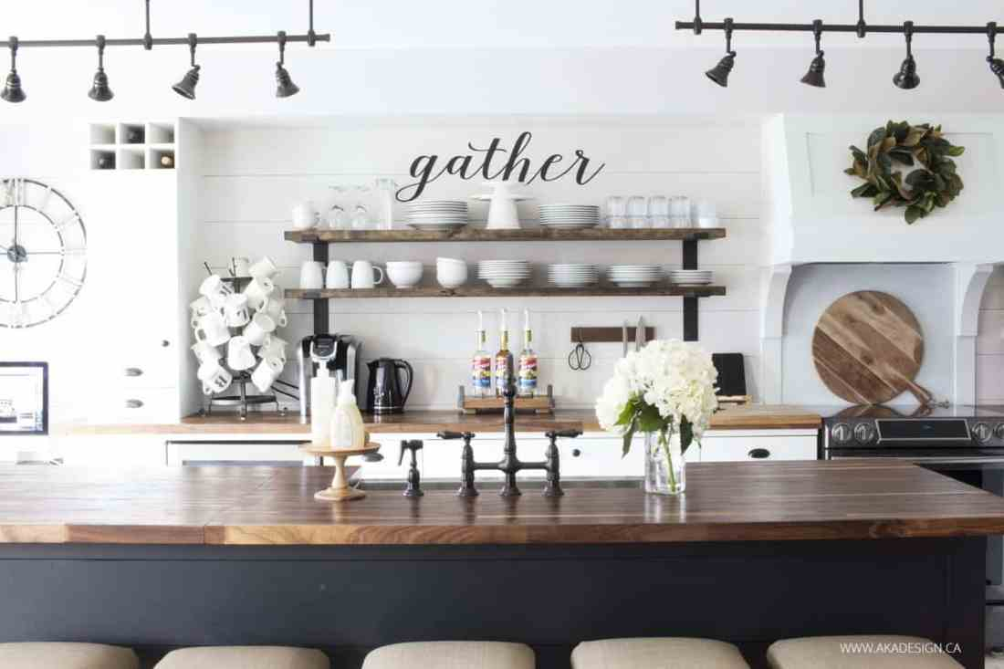 modern farmhouse kitchen gather sign