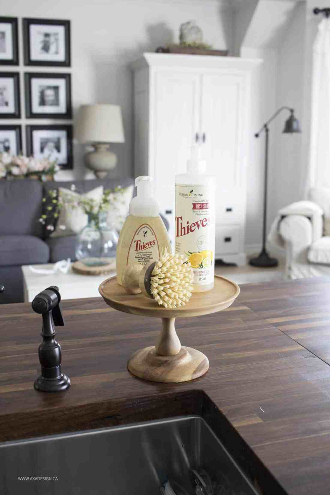 theives kitchen soap and hand soap on cake stand