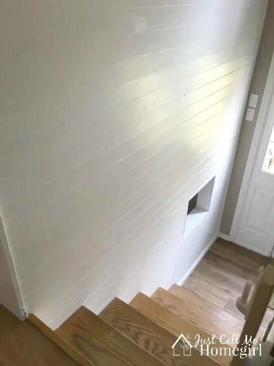 DIY-Faux-Shiplap-entry-wall Just Call Me Homegirl