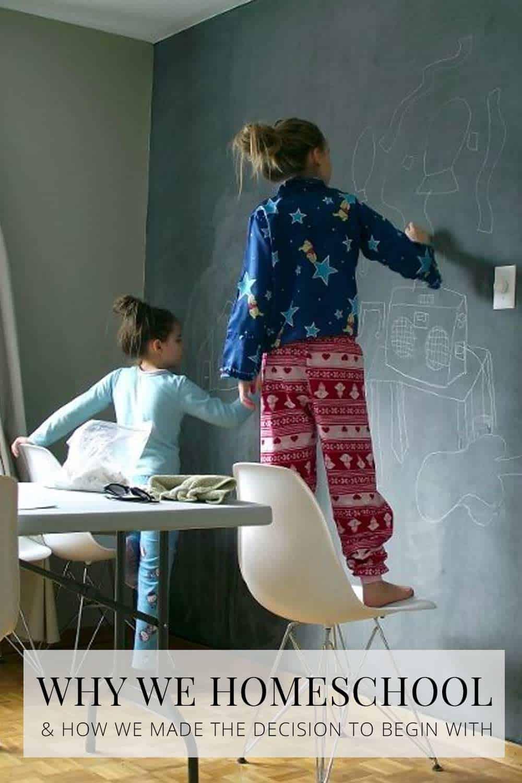 girls at chalkboard, homeschool