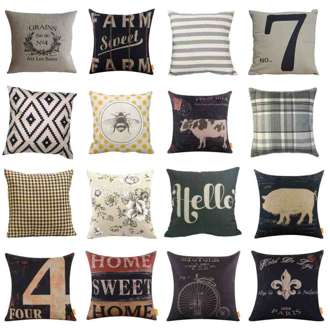Farmhouse style pillows from Amazon
