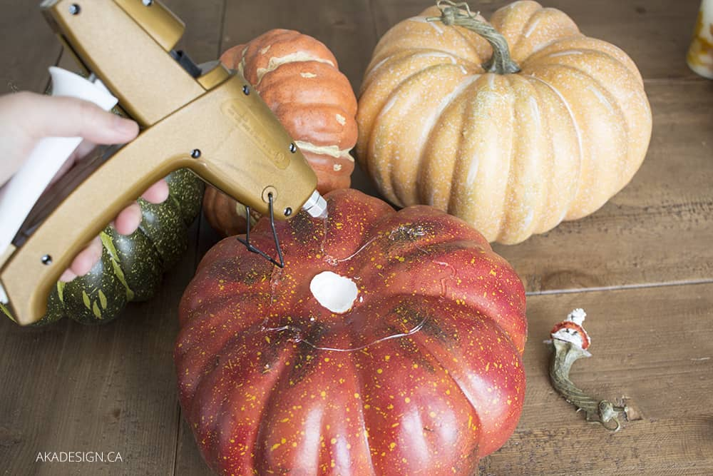 hot glue faux pumpkins together