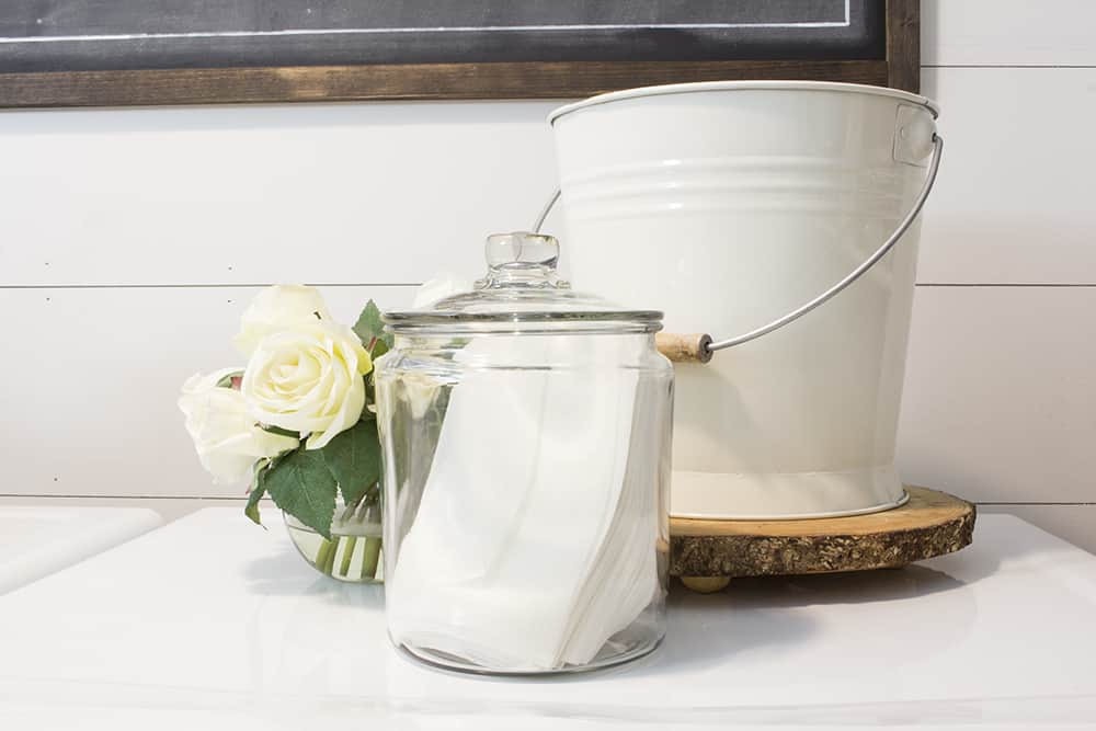 farmhouse laundry room dryer sheets in jar