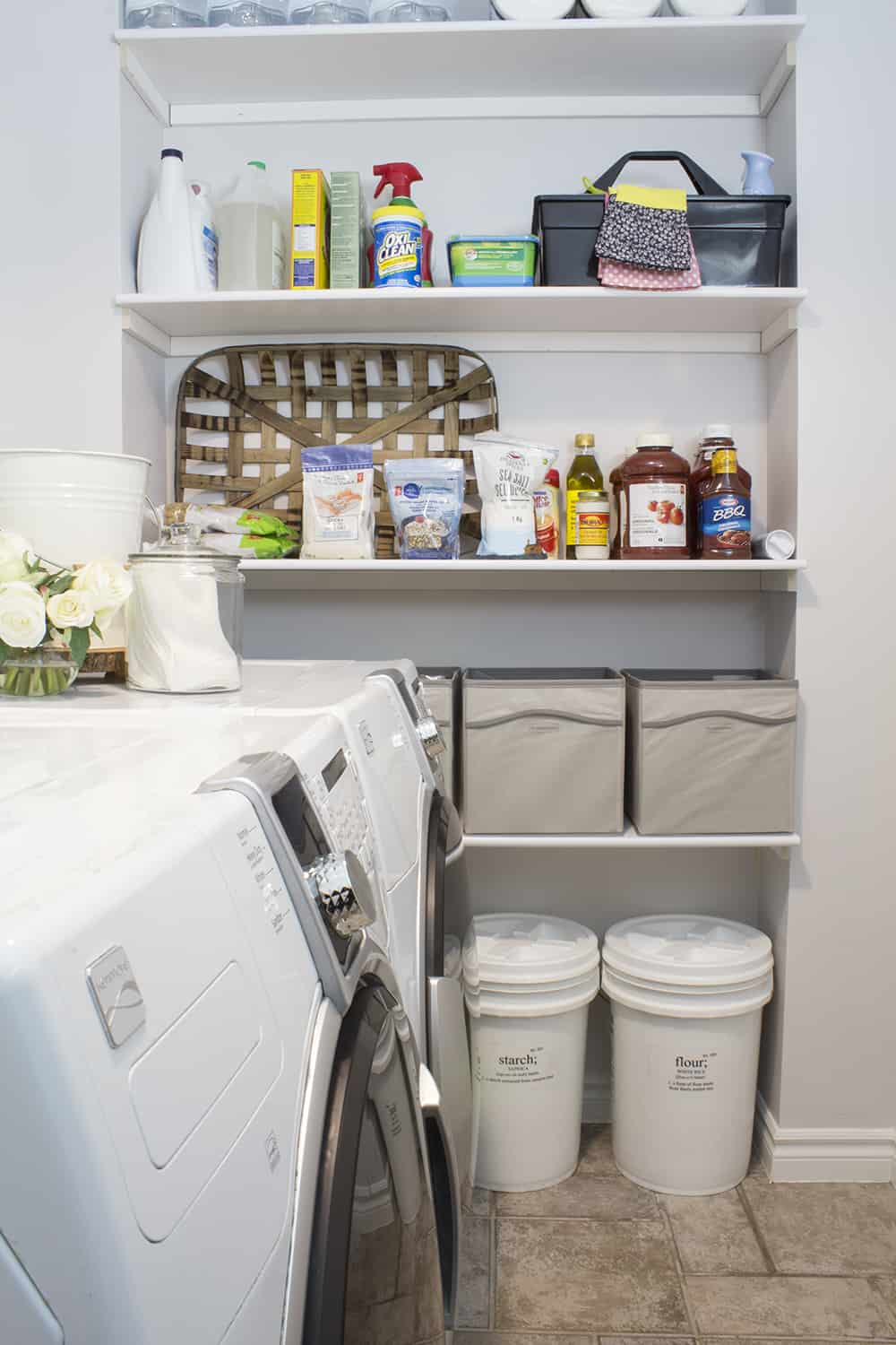 farmhouse laundry room shelves