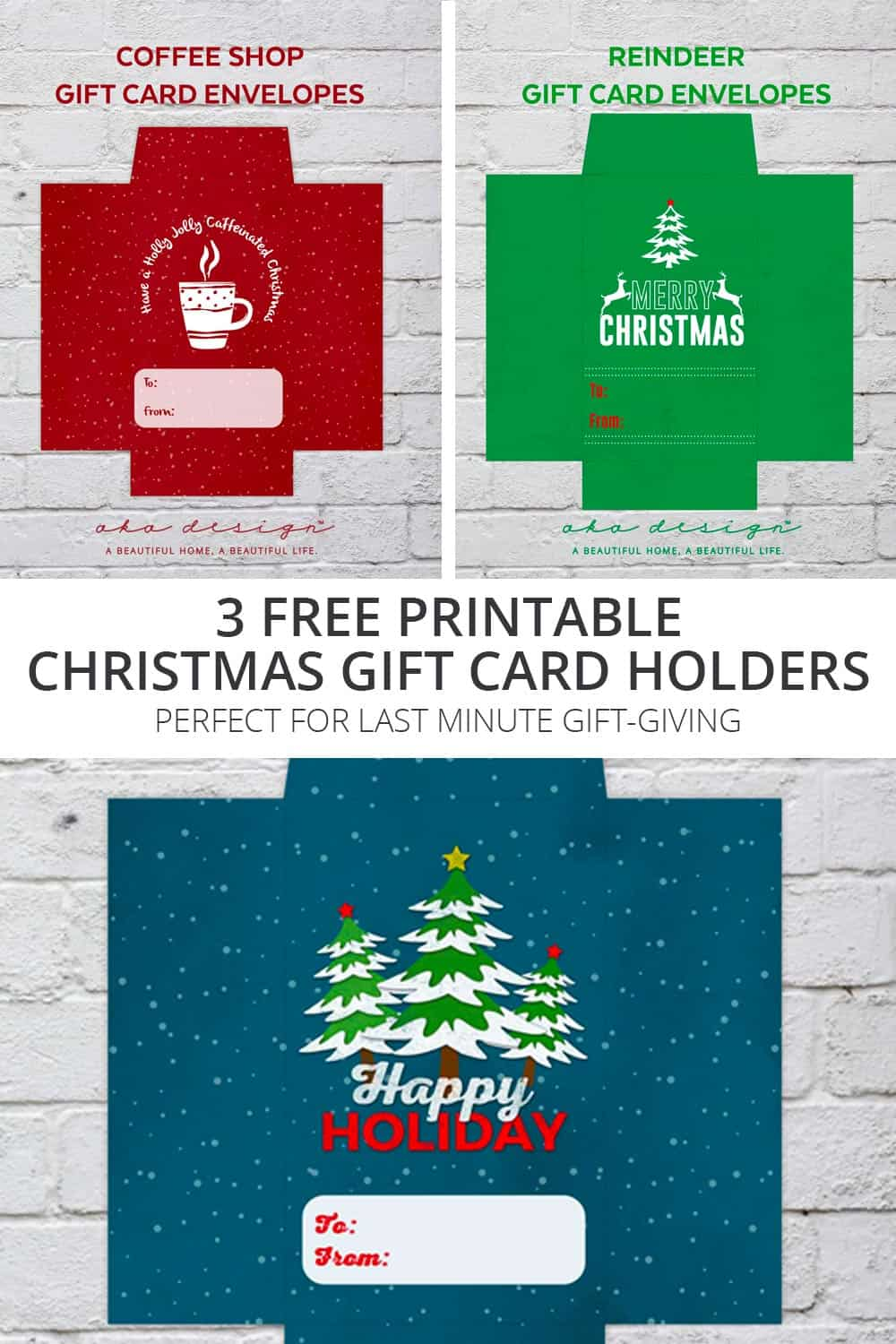 3 Free Printable Christmas Gift Card Holders - For Last Minute Gift ...