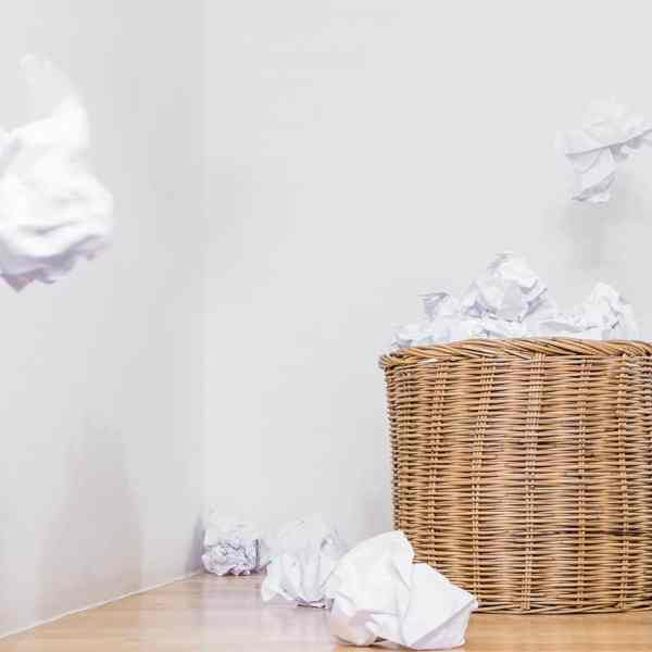 basket trash bin and paper
