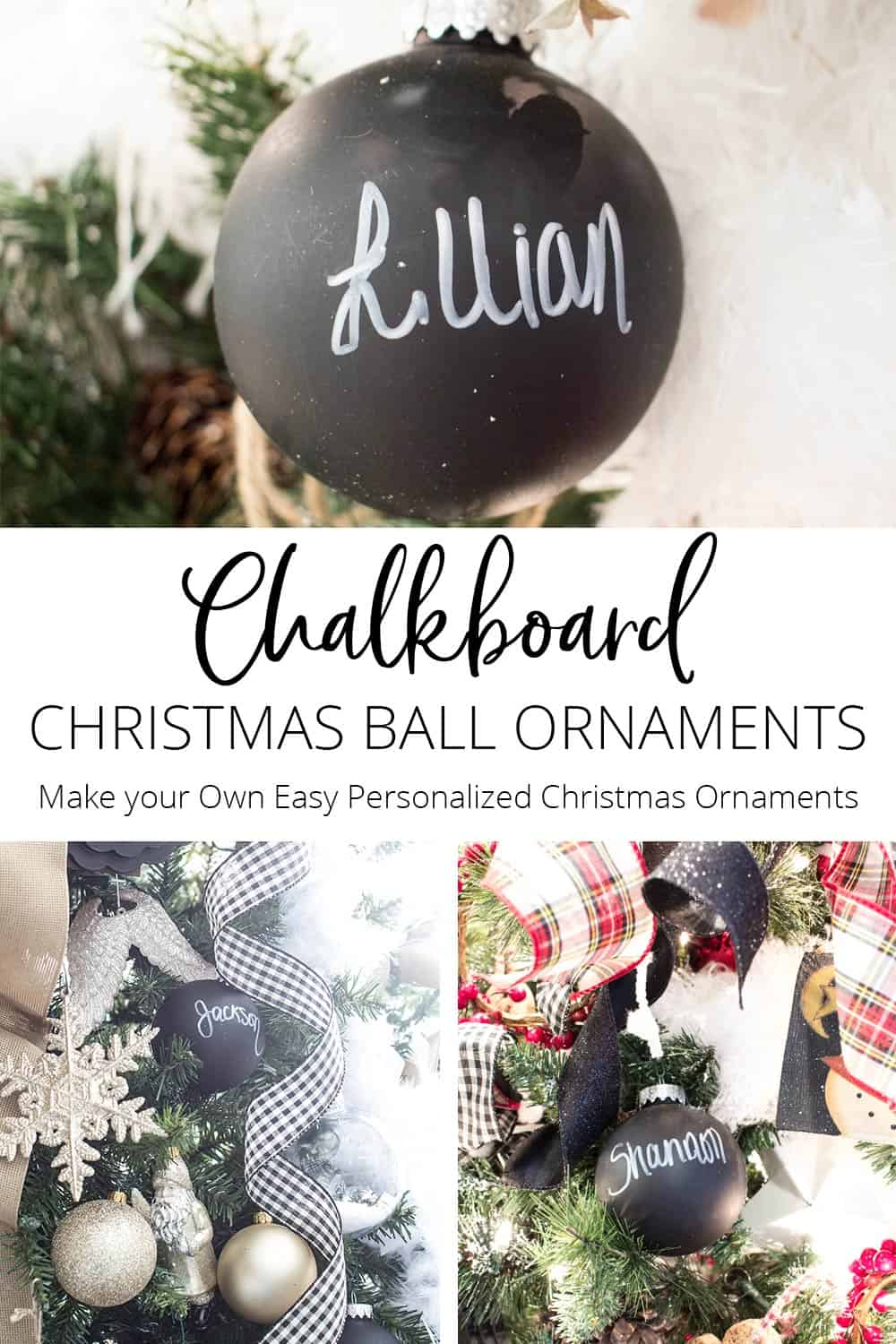 Chalkboard Christmas Ball Ornaments
