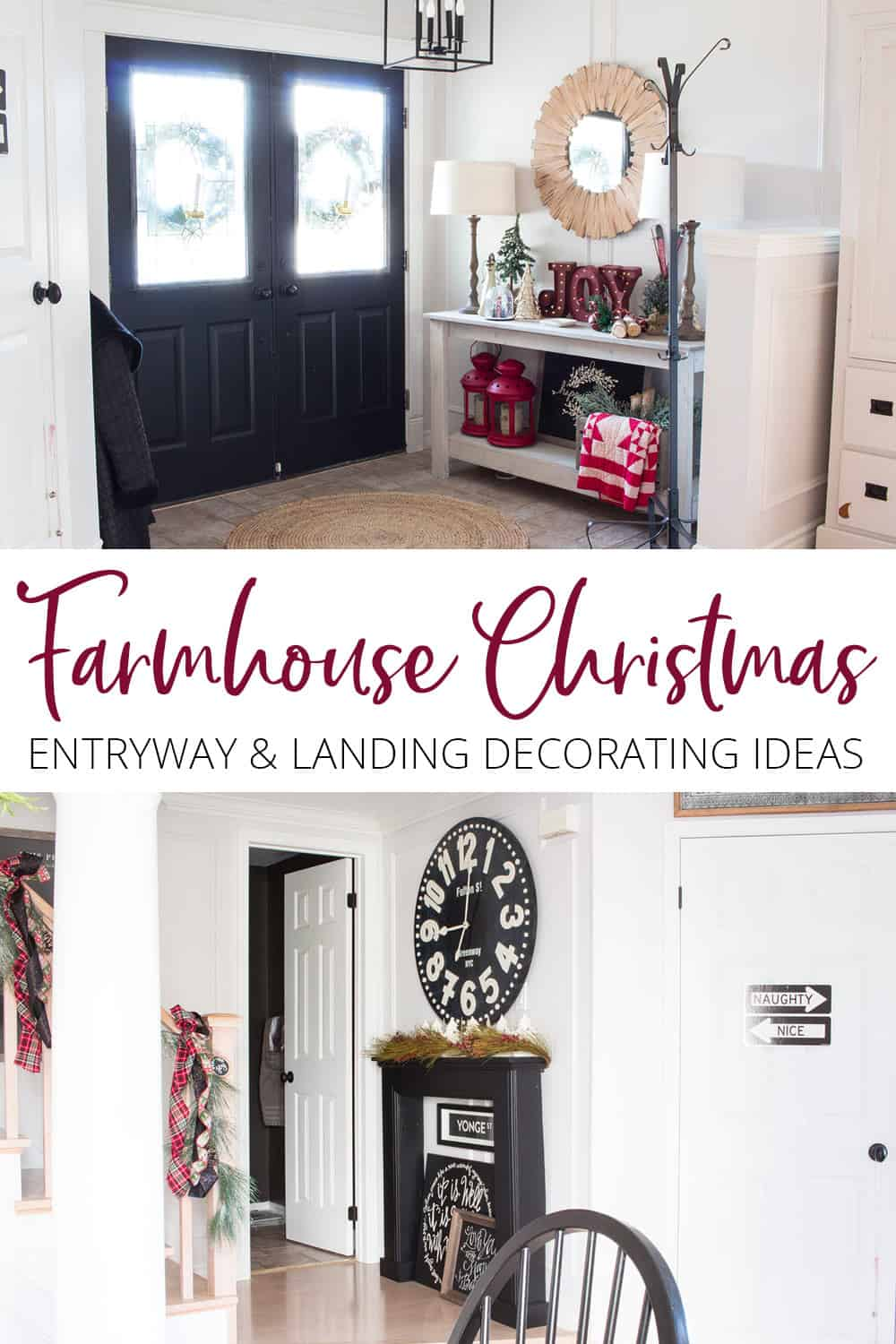 Farmhouse Christmas entry and landing decorating ideas.
