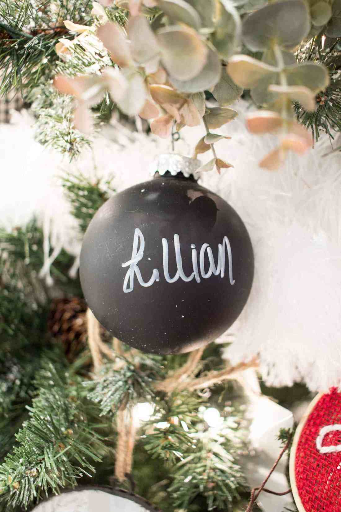 Personalized Christmas Decor.Chalkboard Christmas Ball Ornaments Easy Personalized
