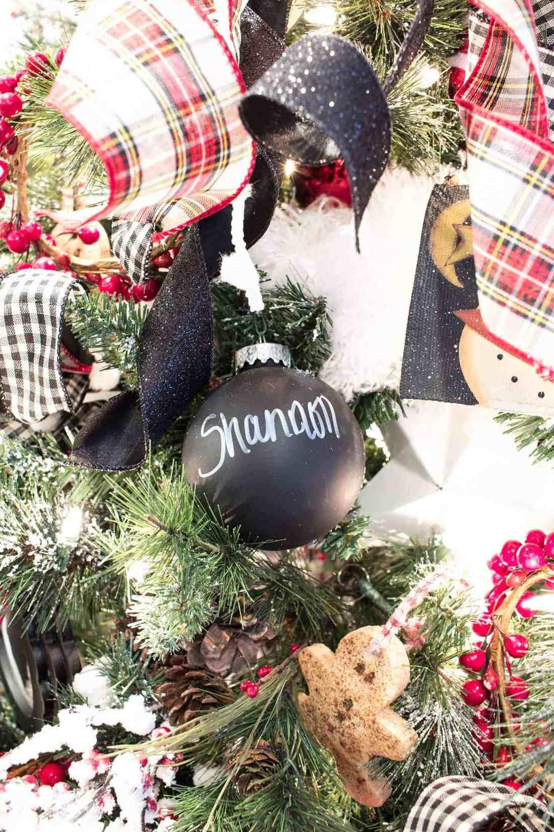 Chalkboard Christmas Ball Ornaments Easy Personalized Christmas