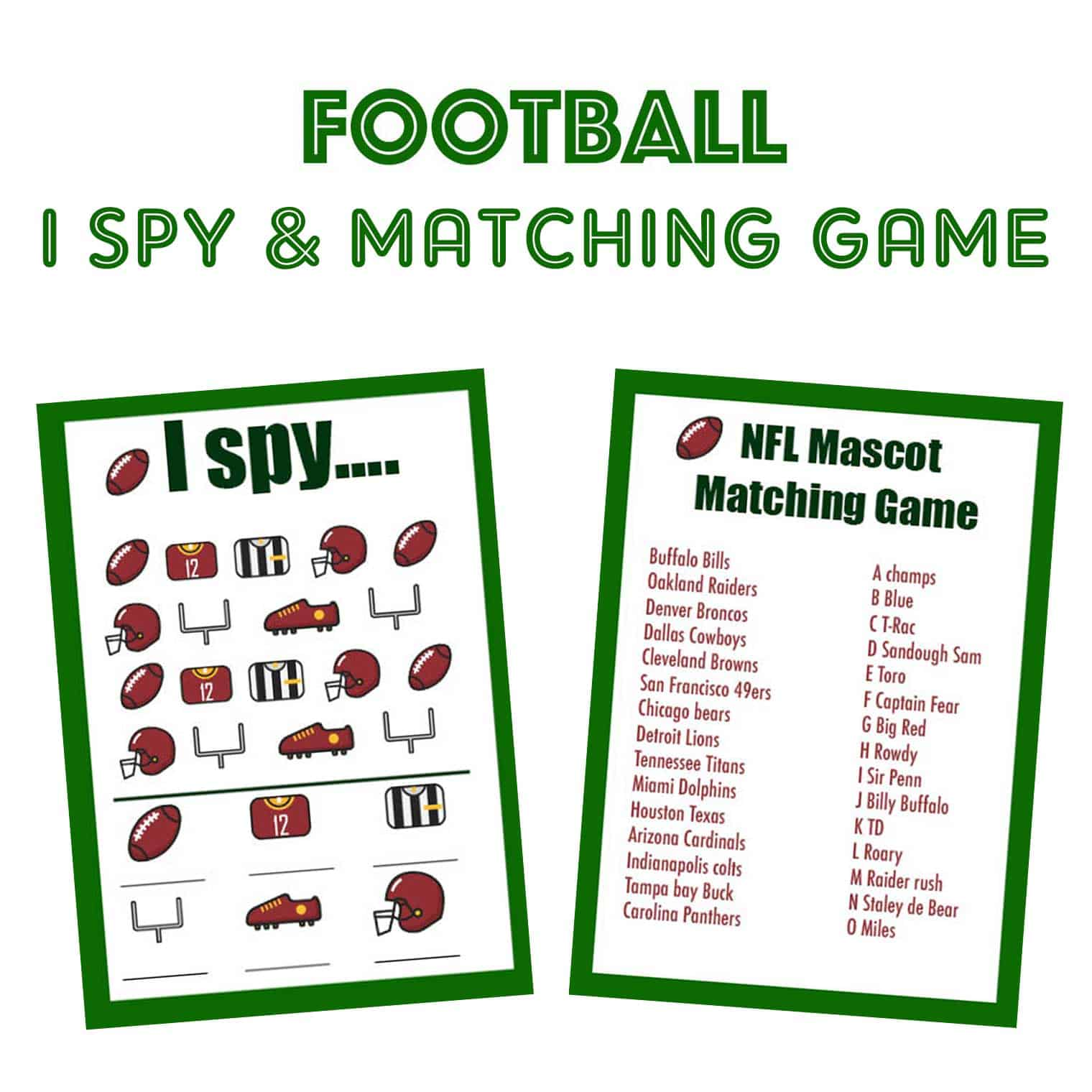 Football I Spy And Matching Game