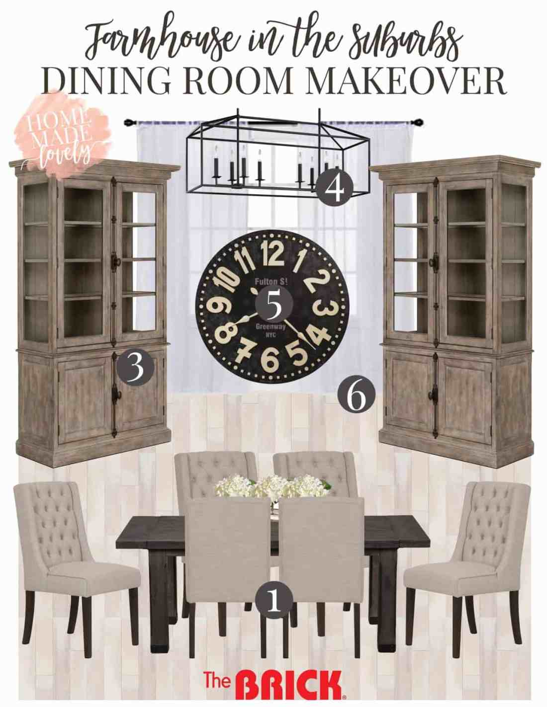 dining room makeover plans moodboard