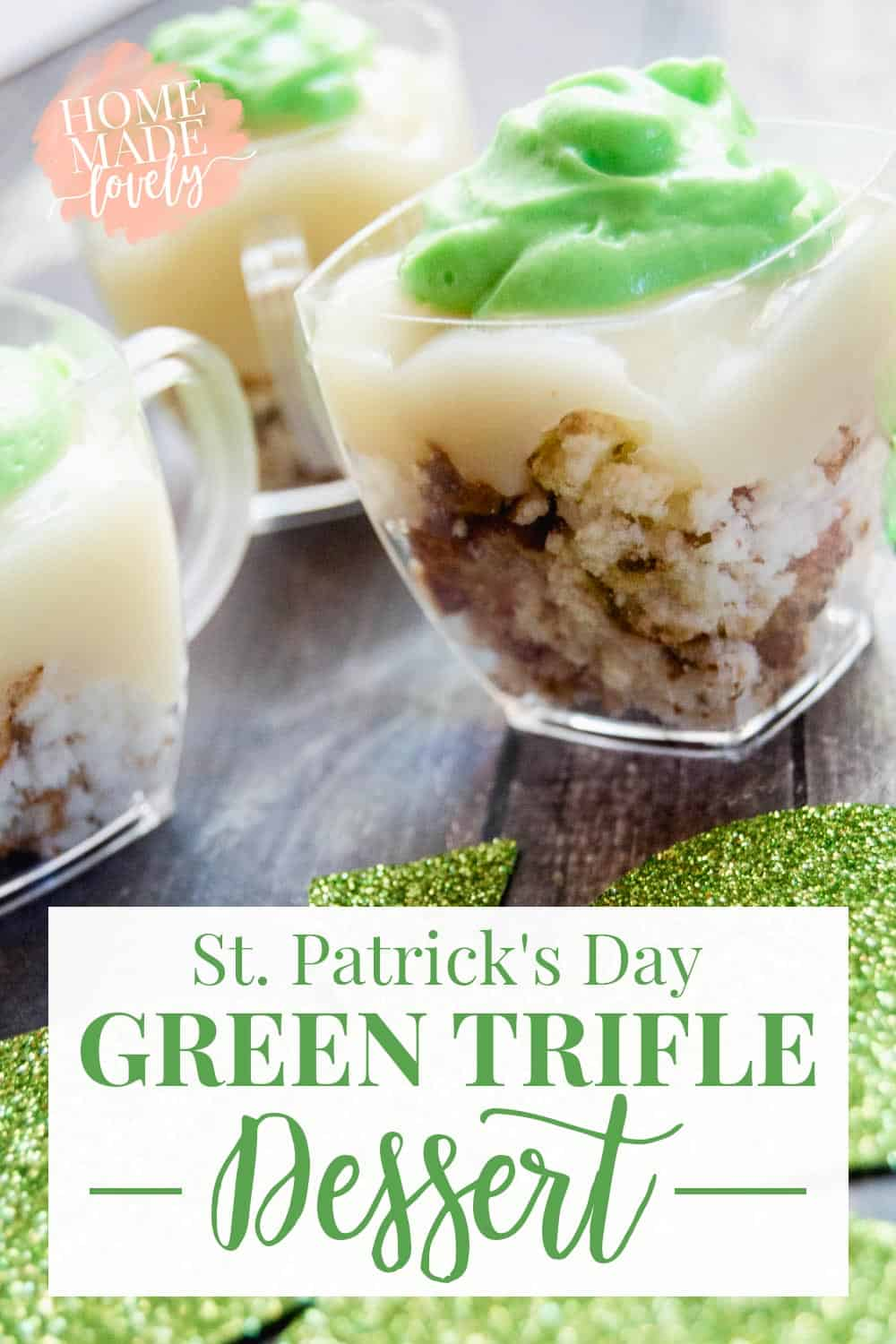 layered trifle with green icing for St. Patrick's Day