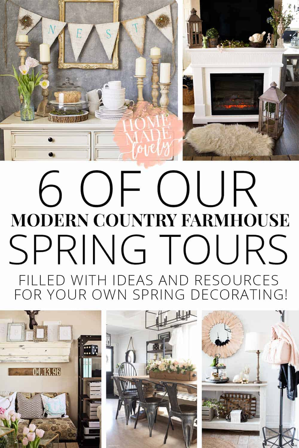 Do you love modern country or farmhouse style? Not sure how to decorate in those styles for Spring? Here's 6 of the best of our very own modern country farmhouse Spring tours filled with lots of visual ideas you can use in your own home this season!