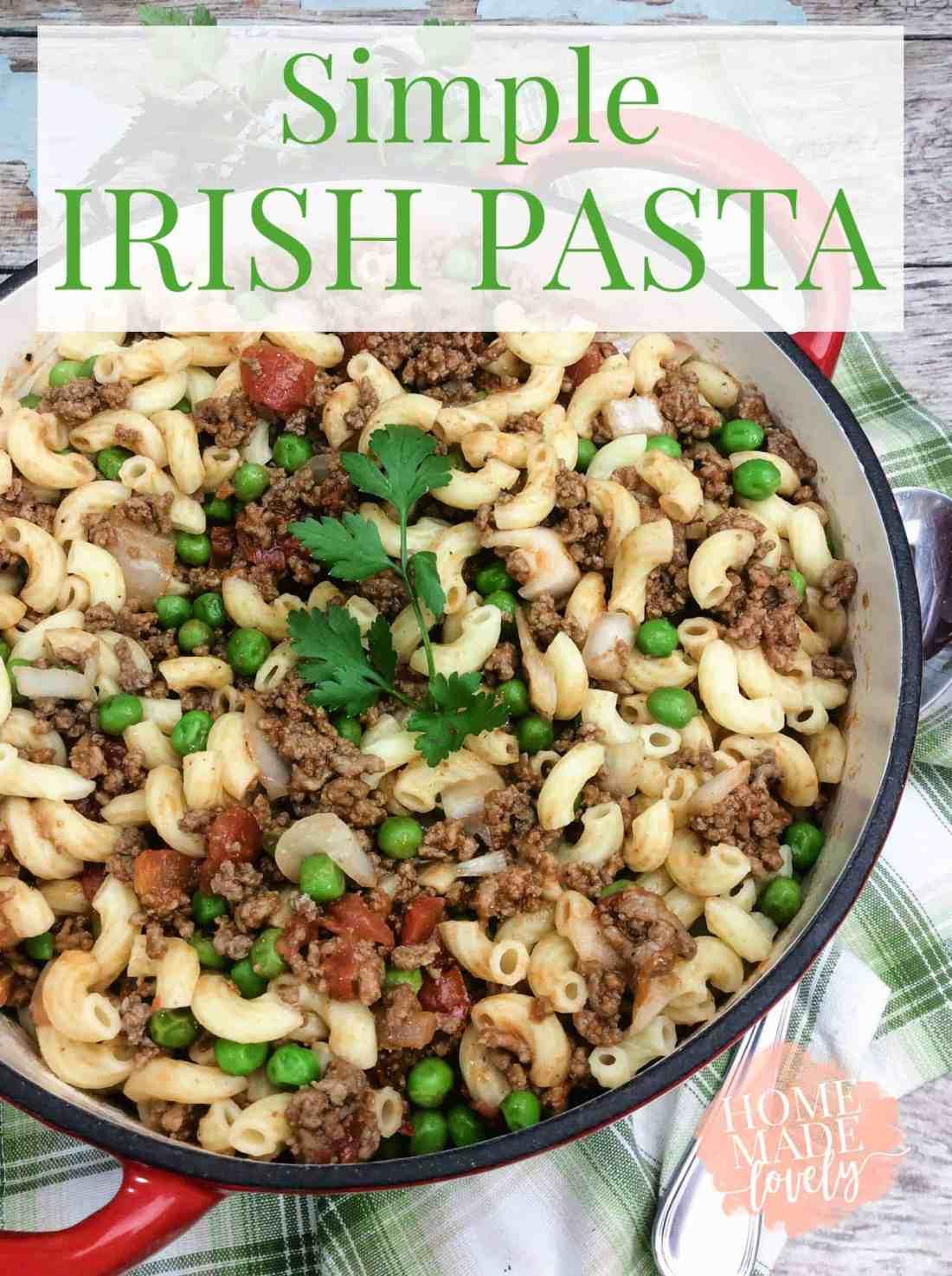 irish pasta in red pot