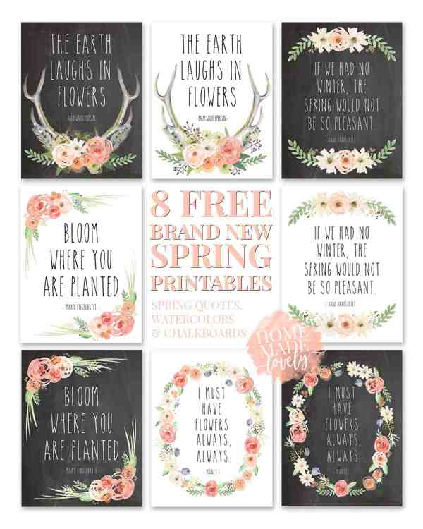 8 Brand New Free Spring Printables Spring Quotes