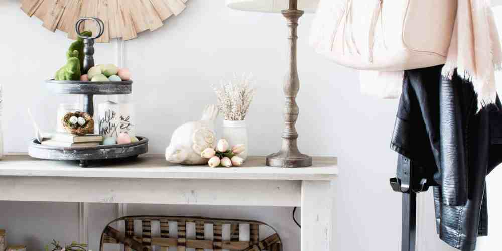 Dean and Shannon Acheson's Spring Entry. White and black farmhouse style with touches of blush pink.