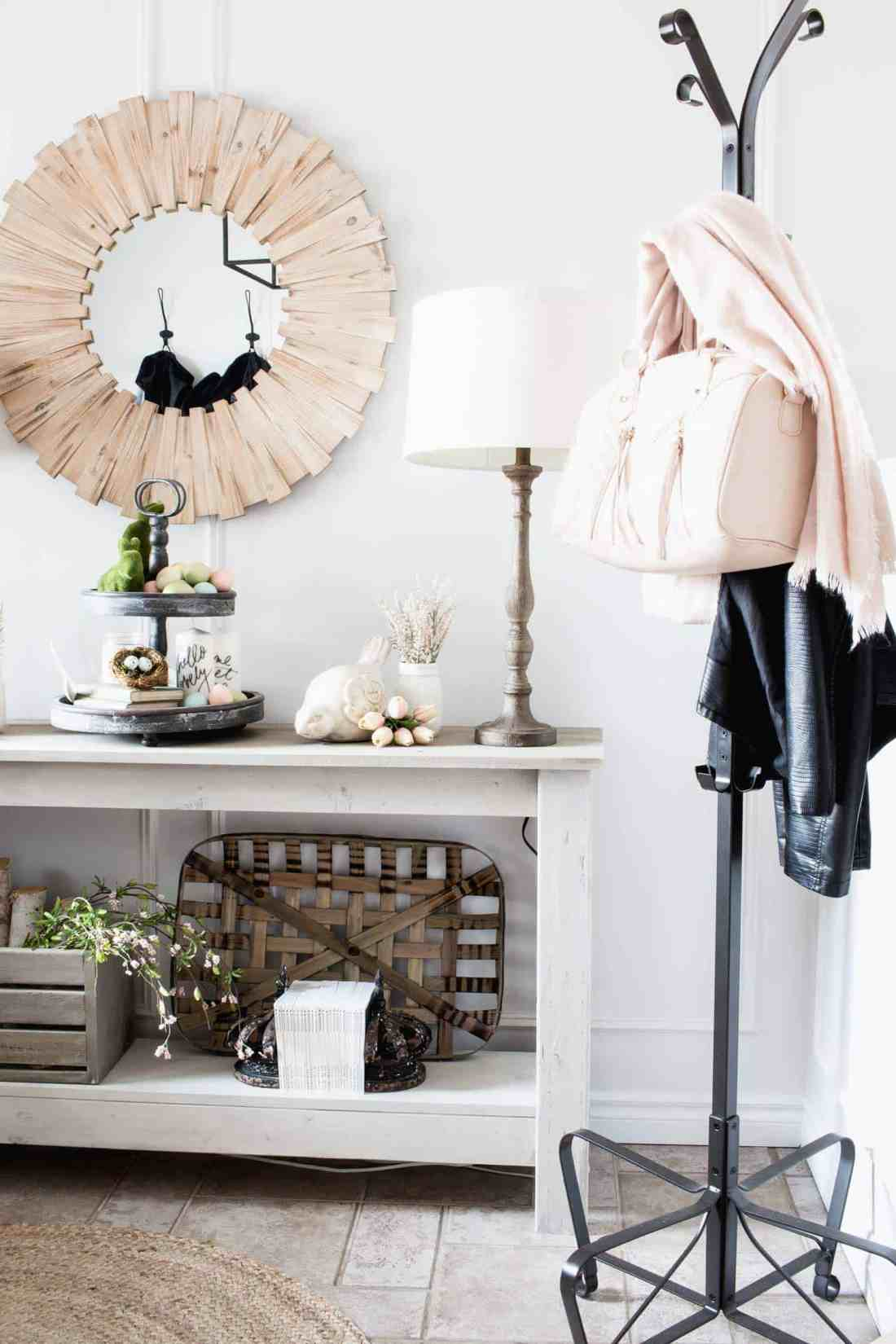 neutral and blush pink decor in spring entry