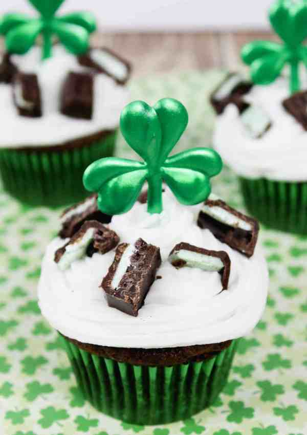 St. Patrick's Day Cupcakes with Devil's Food and Mint
