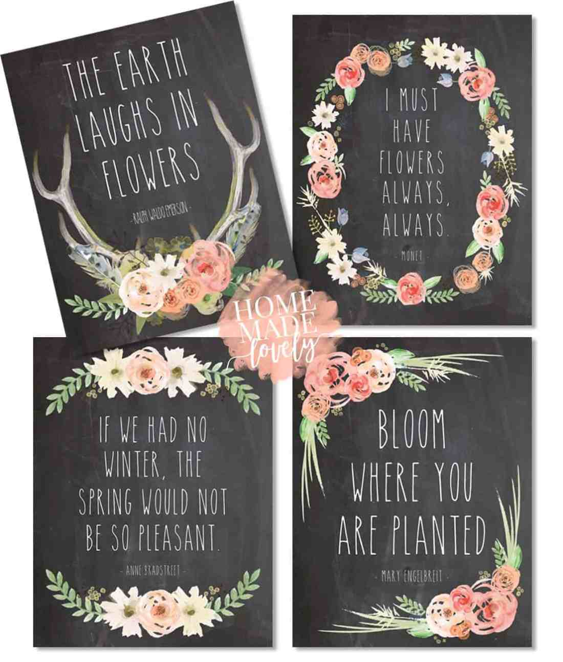 rose and chalkboard free spring printables, set of four