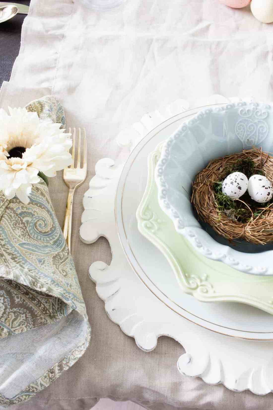 layered farmhouse style spring table setting