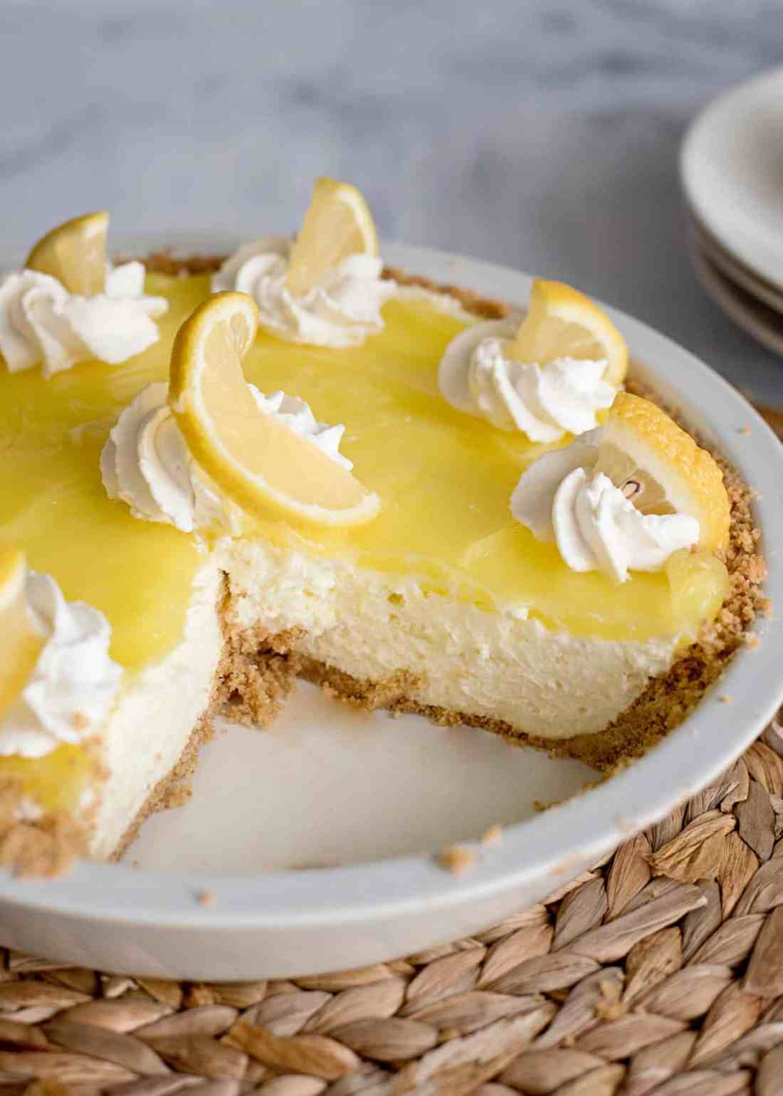 A delicious lemon cream pie with graham cracker crust and homemade whipped cream recipe. Can be made gluten free (and dairy free) with a few substitutions too!
