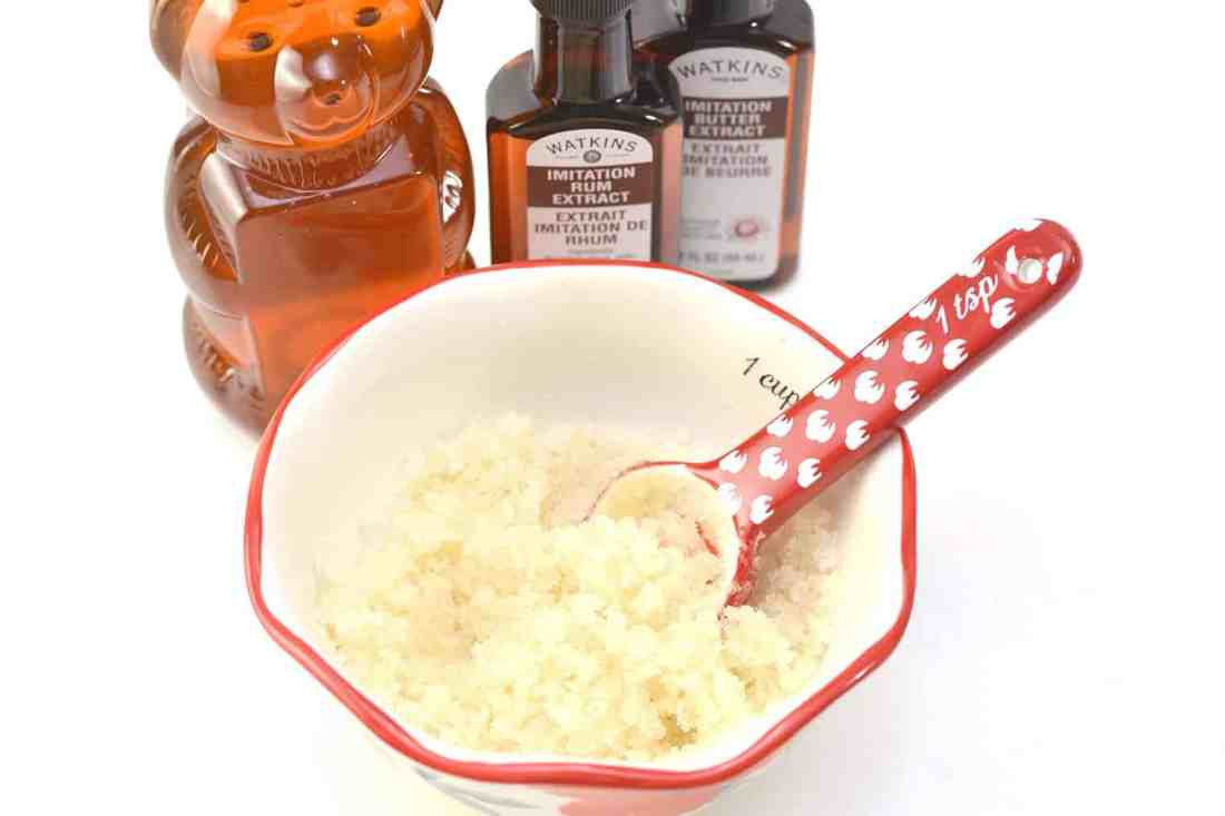 mix all ingredients for lip scrub together in a bowl