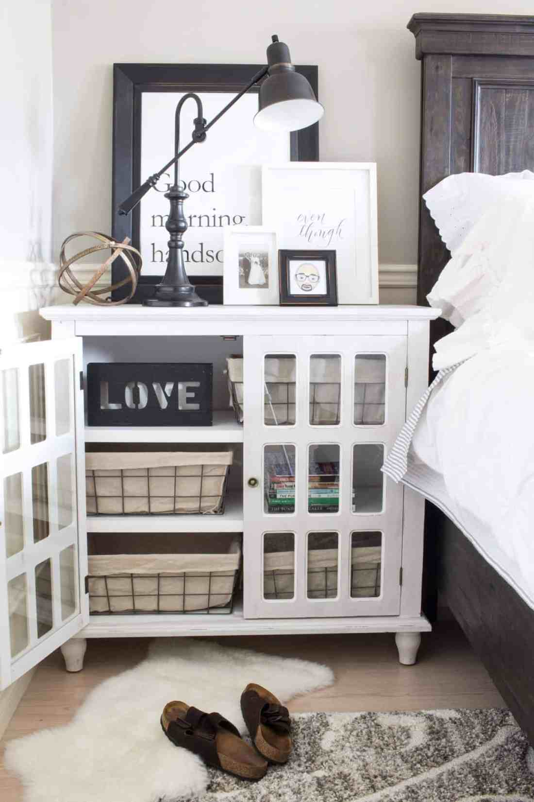 Farmhouse styled Bray Accent Cabinet from The Brick as a nightstand