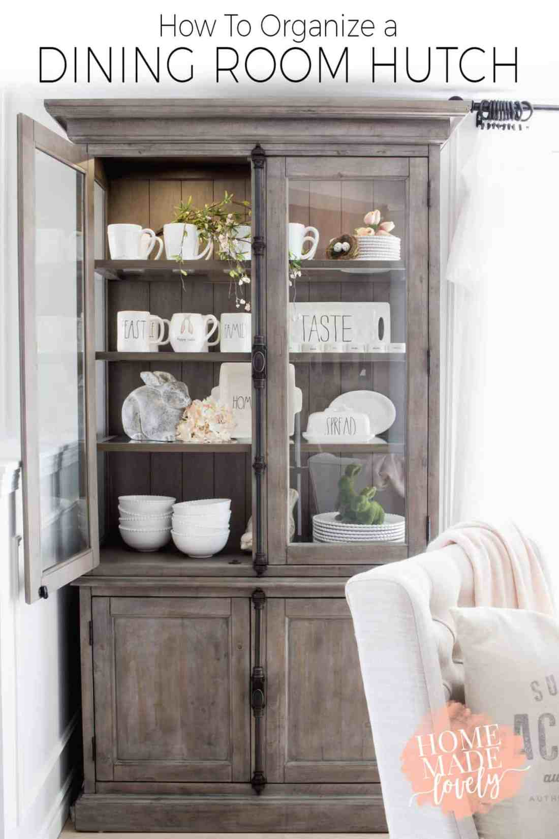If you have pretty things like napkins, placemats, napkin rings, etc. and want to know how to organize a dining room hutch, here's how to do it. Plus more of our Keswick Buffet and Hutches from The Brick.