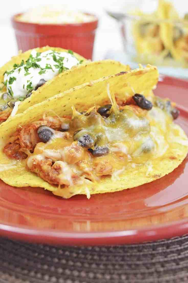 Chicken and Black Bean Tacos - Uses Rotisserie or Leftover Shredded Chicken!