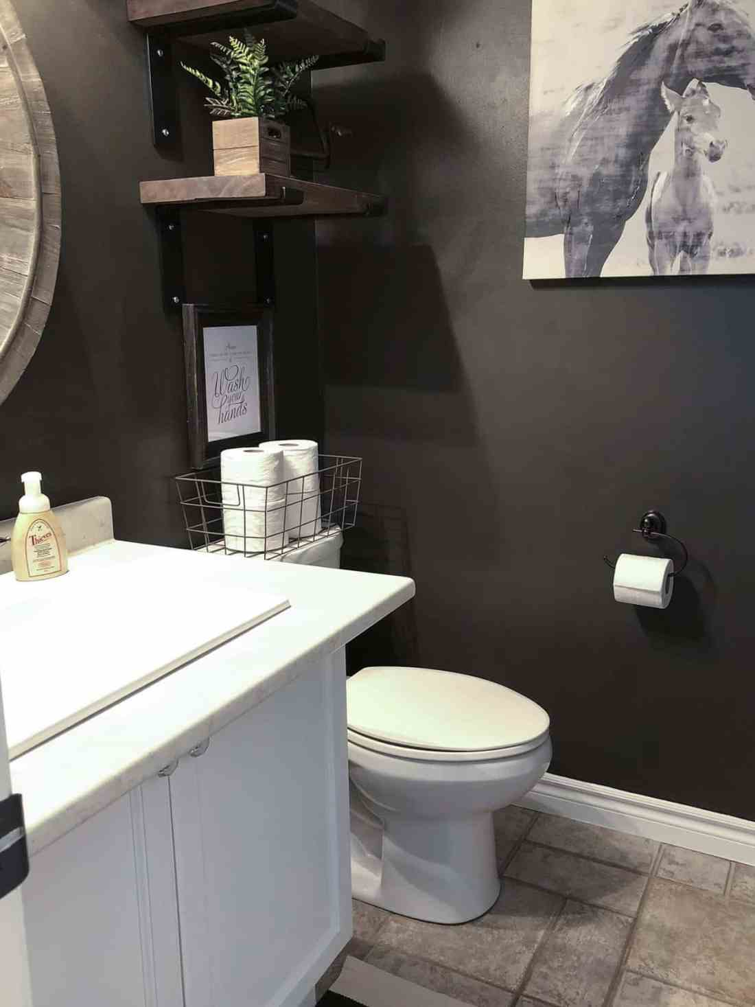 black farmhouse powder room