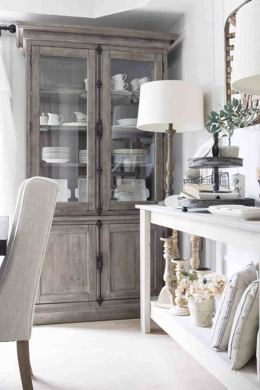 dining room corner farmhouse style with grey