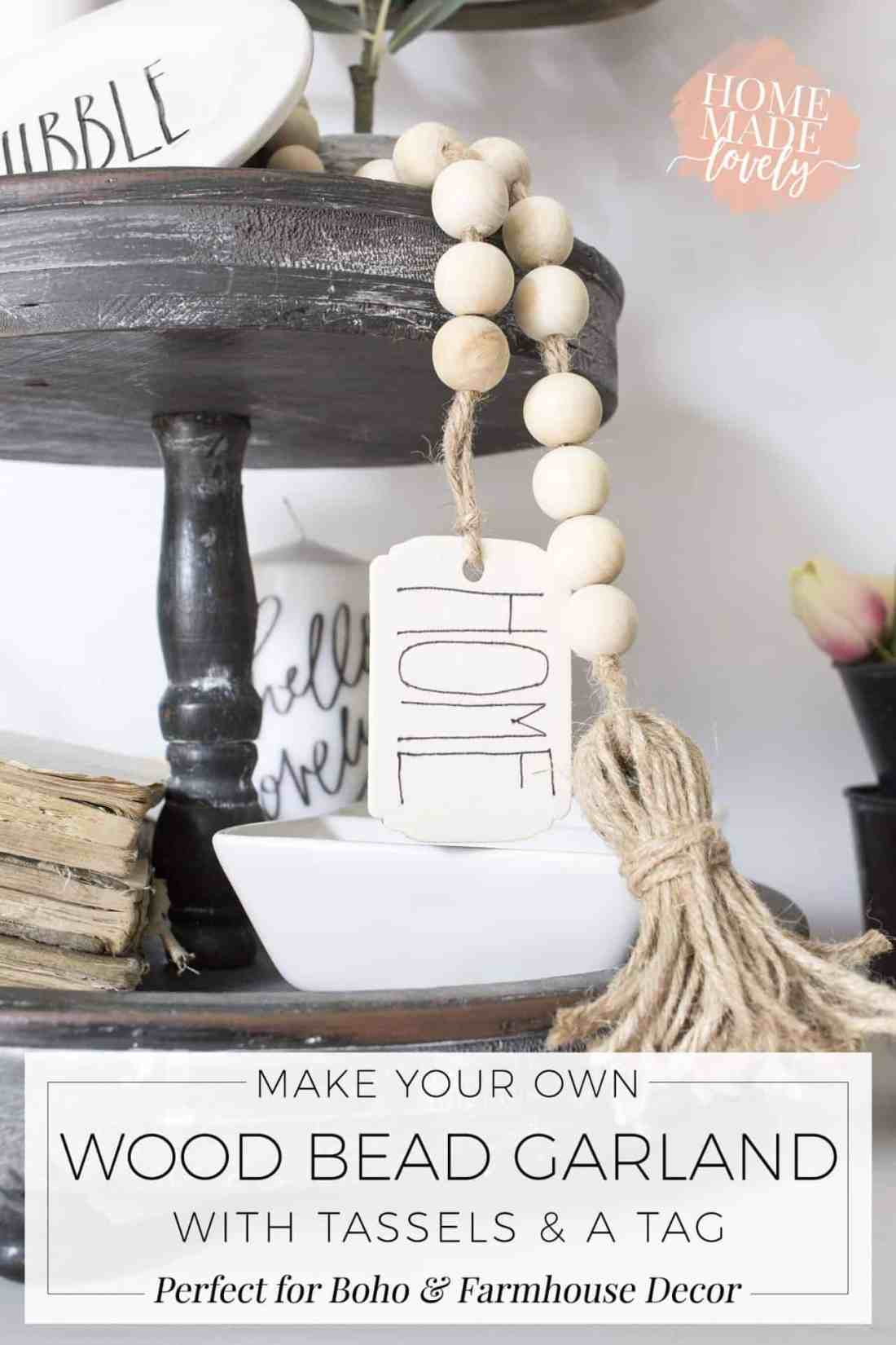 Make your own DIY wood bead garland with tassels and tag for your boho or farmhouse decorated home! The project only takes about 15 minutes! #diy #crafts #farmhousediy