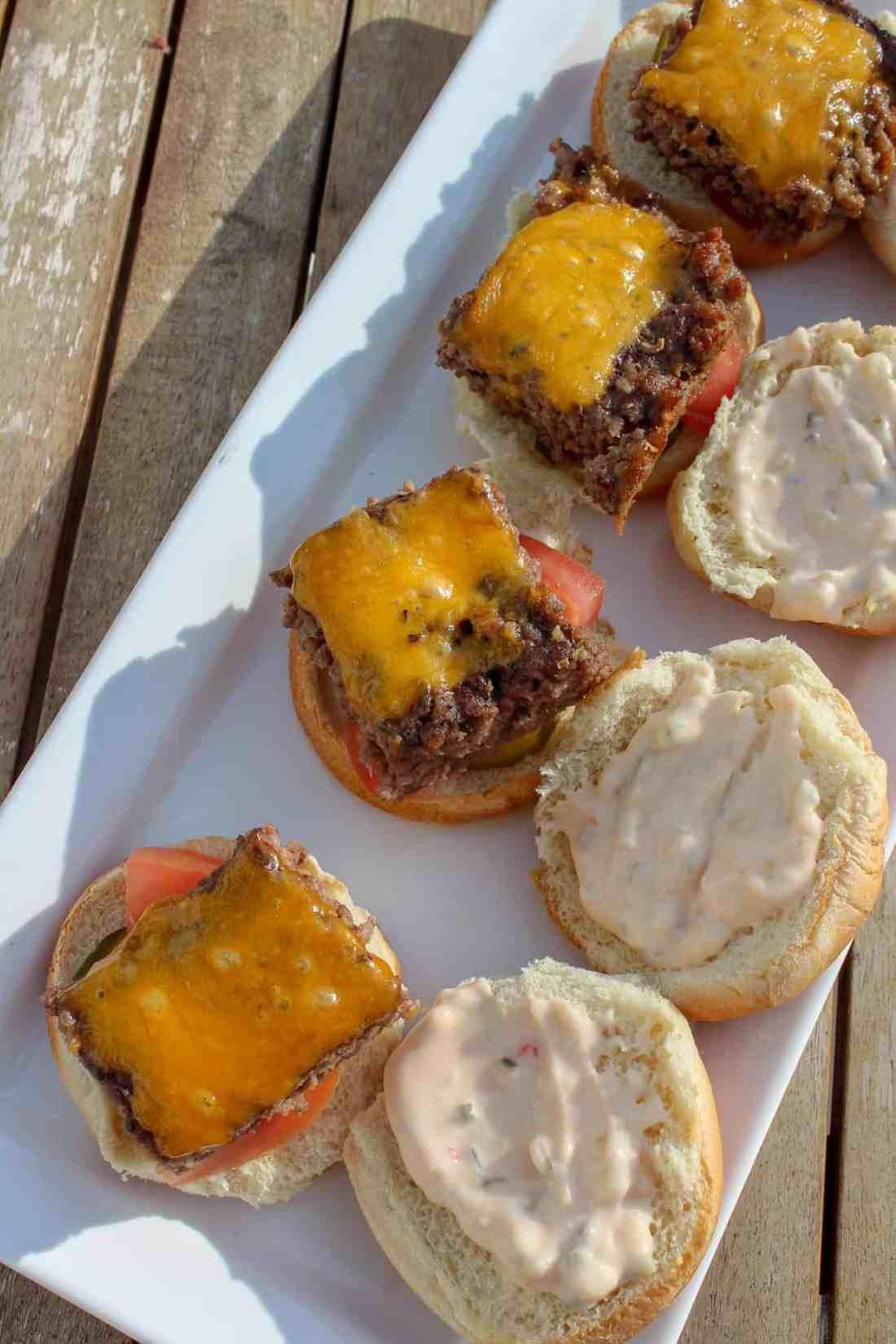 sheet pan burgers with copycat big mac sauce