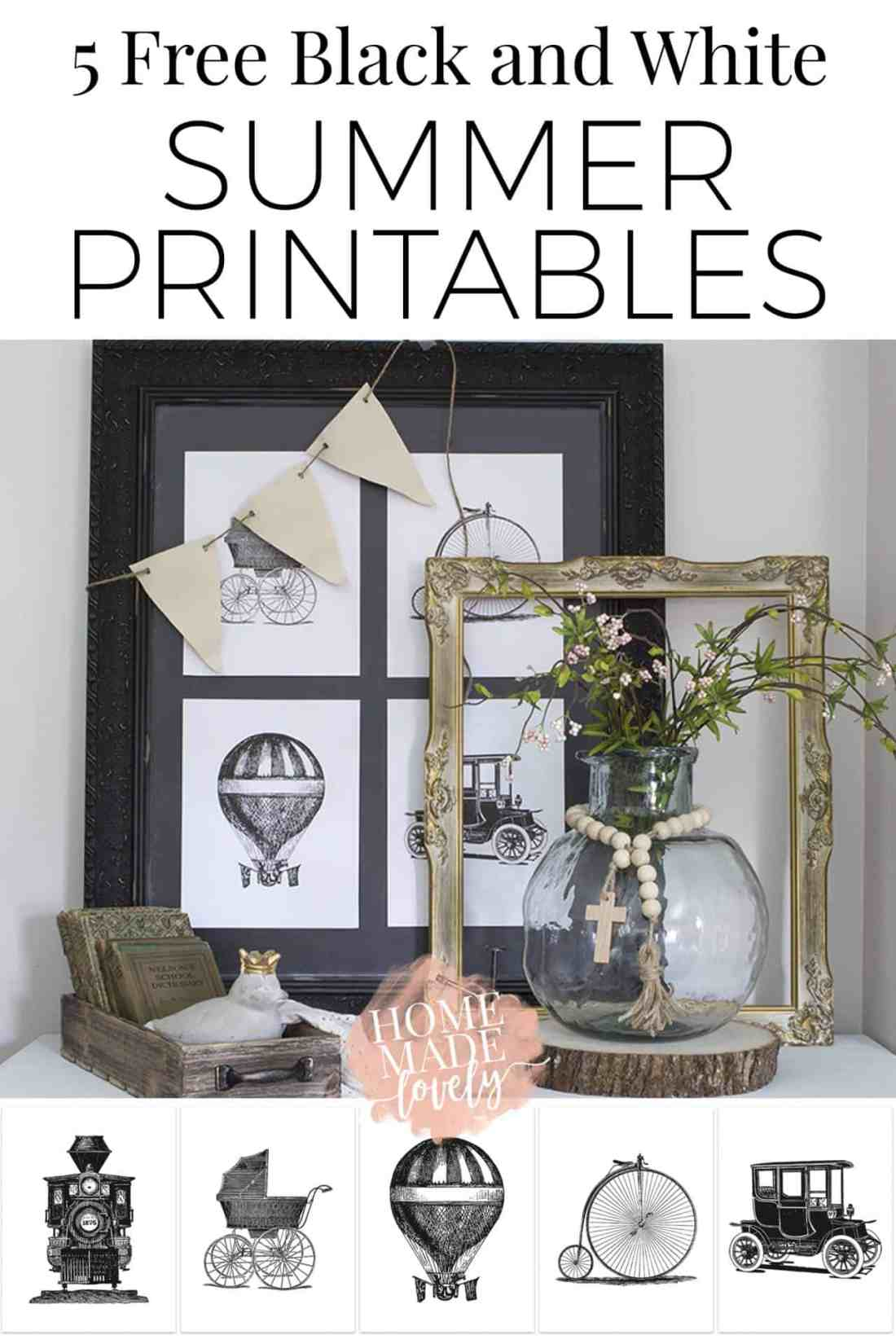 Love vintage farmhouse style? Here are 5 free black and white summer printables for you to use in your home, featuring retro modes of transportation: a bicycle, vintage car, baby carriage, hot air balloon and steam train! Plus a few words from my momma heart to yours. #freeprintables