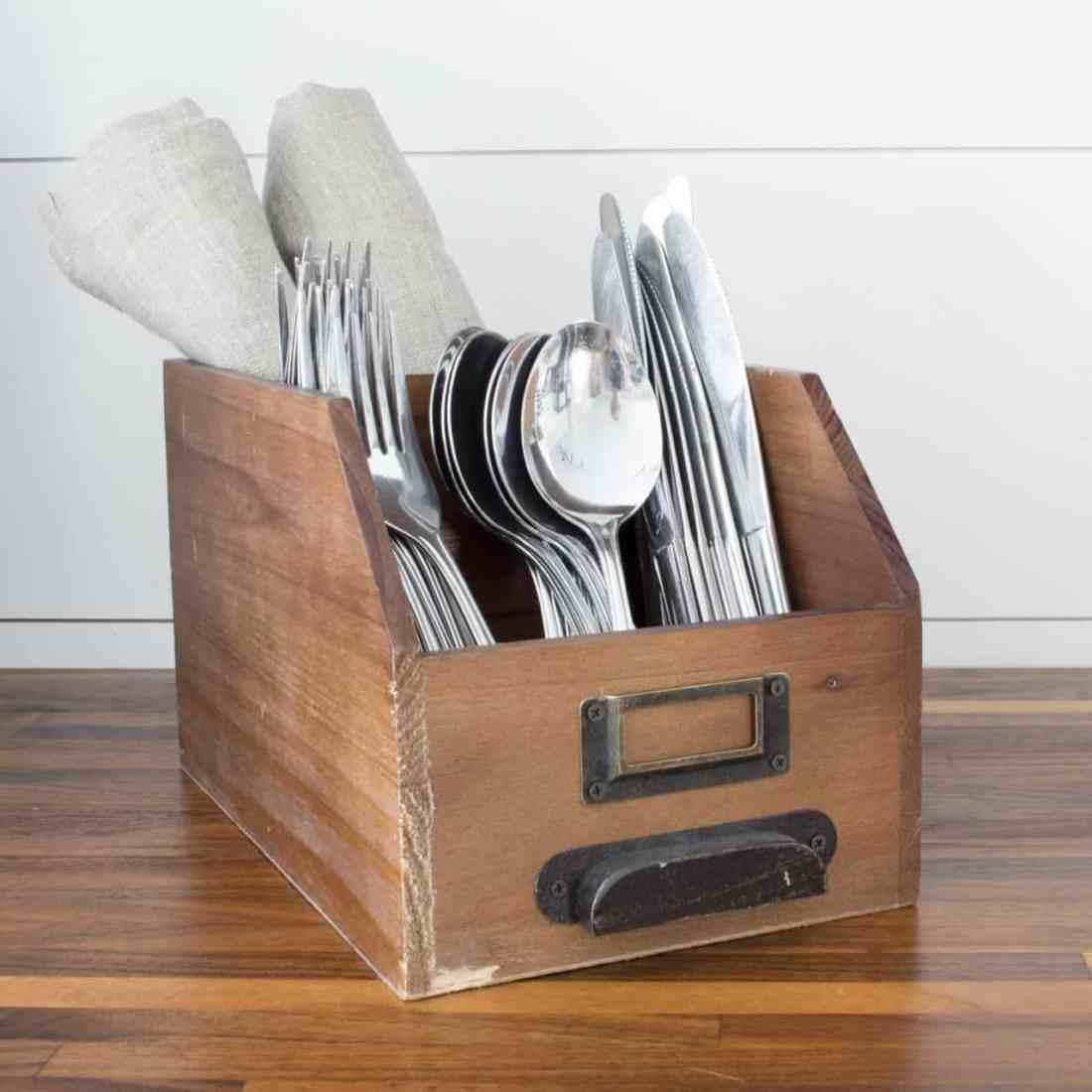 vintage wood bin