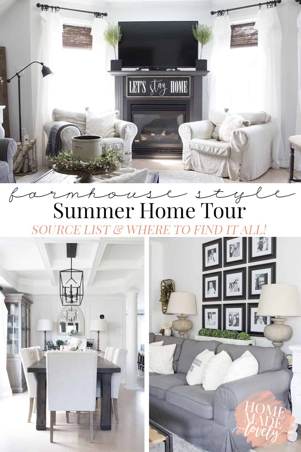 Love farmhouse style? Here's the source list for the farmhouse style summer home tour of our living room and dining room.