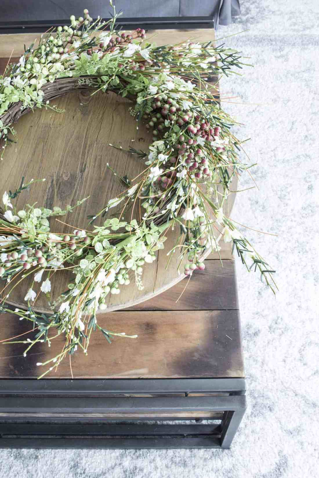 faux wreath on table