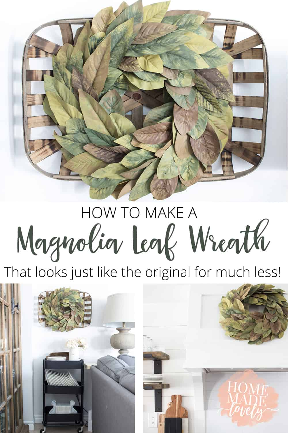 Everyone loves the Fixer Upper faux magnolia leaf wreath, right? Here's how to make one for less that looks just like the original (and not shiny like other DIY versions)!