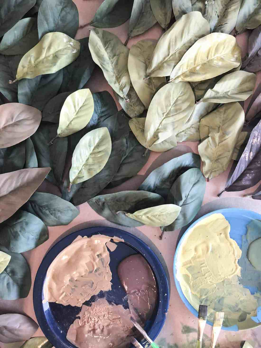 painting magnolia leaves for a wreath