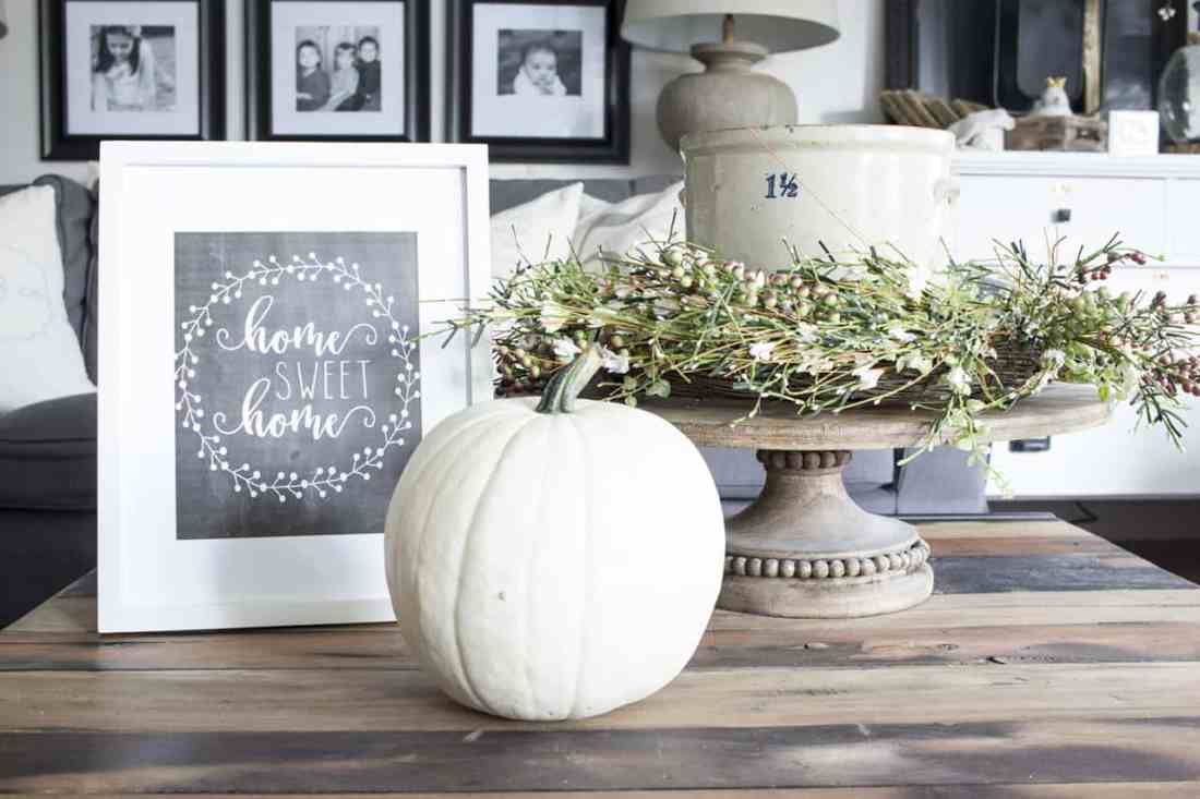 Home Sweet Home Chalkboard Printable framed with pumpkin
