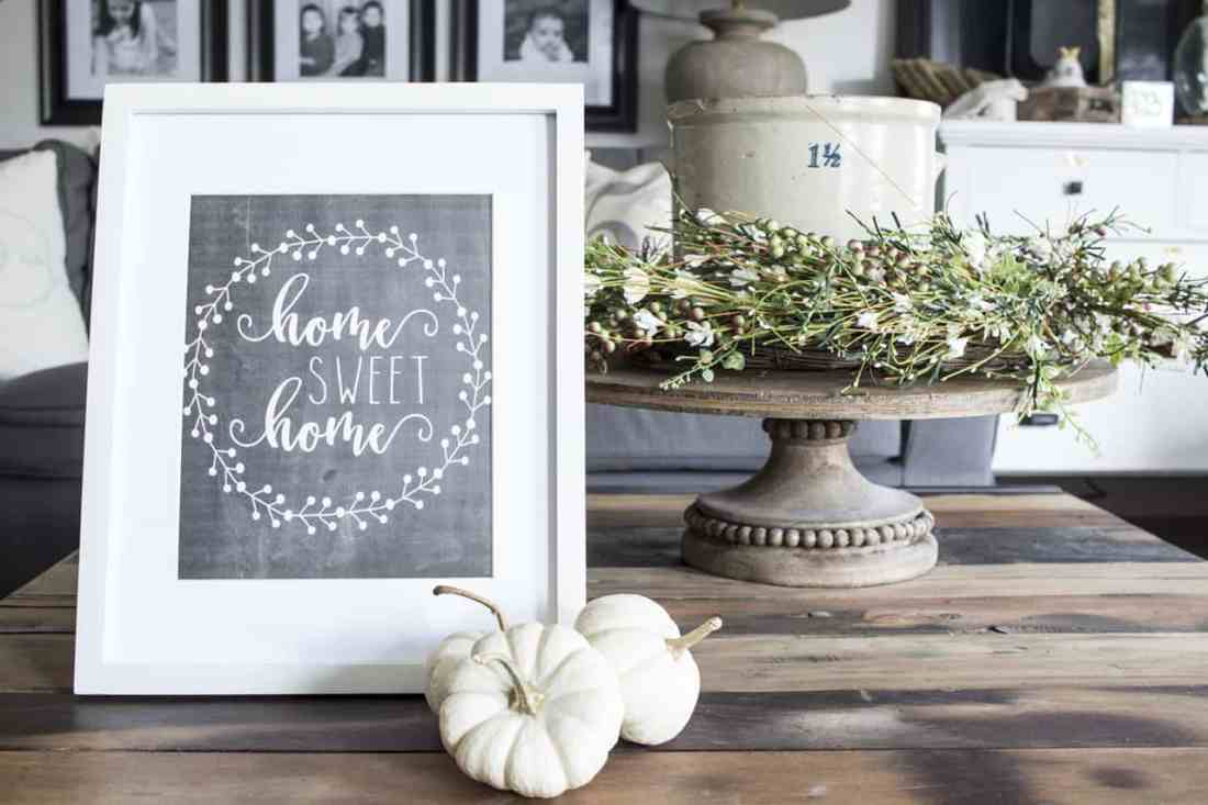 Home Sweet Home Chalkboard Printable with Baby Boos