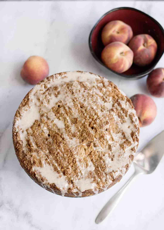 glazing peach coffee cake