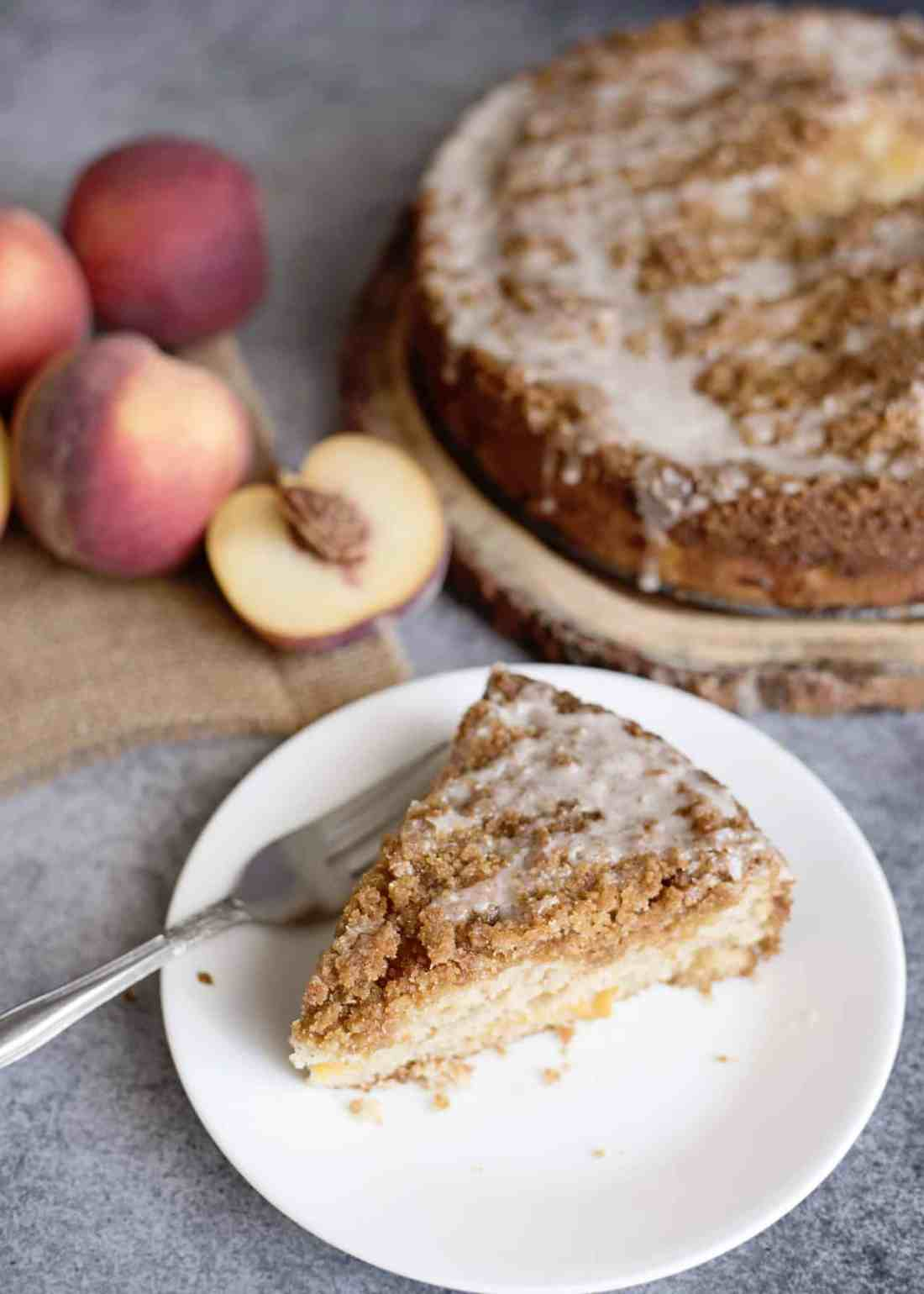 slice of peach coffee cake from top